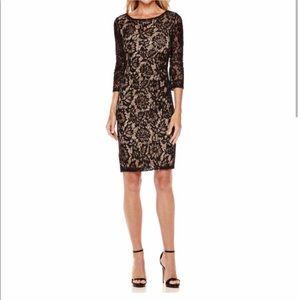 Black lace sheath dress w sparkle sequin accents
